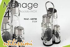 SET 4 PZ MENAGE IN ACCIAIO INOX OLIO-ACETO-SALE-PEPE 11*22H CM MAZ-640780