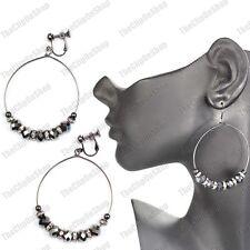 CLIP ON faceted GLASS BEAD HOOP EARRINGS gunmetal black SPARKLY HOOPS crystal