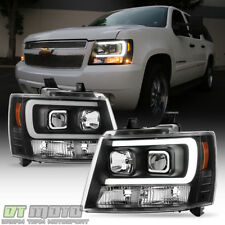 Blk 2007 2014 Chevy Suburban Tahoe Avalanche Optic Drl Led Projector Headlights Fits 2007 Chevrolet Suburban 1500