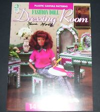 "PLASTIC CANVAS PATTERN LEAFLET BOOK 11 1/2"" FASHION DOLL DRESSING ROOM"