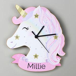Personalised Unicorn Wooden Name Clock - Baby Girls Birthday Christening Gift