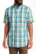 Pendleton Fremont Plaid(Blue/Green/Oran) Short Sleeve Button Down Shirt Sz L NWT