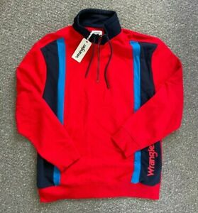 New Mens Wrangler Sweater Jumper Red/Blue Half-zip Collared Chest 42 Size M 70
