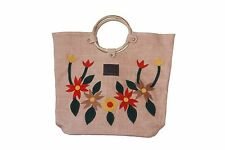 Women's Jute Eco-friendly Shopping/Shoulder Bag with colorful floral design
