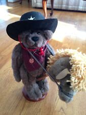 """Bronco Billy Boy Plush 14"""" Handmade Fully Jointed Bear by Penny French"""