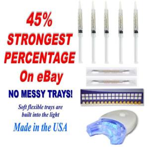 Professional 45% Bleaching Teeth Whitening Kit (5) Syringes (1) LED Blue Light