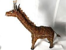 """Brown Beaded Wire Giraffe Sculpture African Folk Art Collectible 13"""" Tall"""