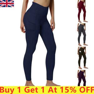 Women High Waist Gym Leggings Sport Fitness Pocket uk Pants Yoga Train Running