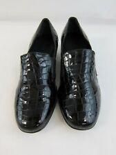 Walking Cradles Teri Black Croc Patent Leather Loafers Size 9