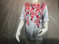 Karen Scott Elbow Sleeve Boat Neck Stripped Floral T-Shirt Women's Plus Size 0X?