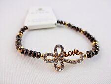 Rhinestone Cross Bracelet 7 Inch Dark Gray Bead Love Gold-tone Stretch Crux