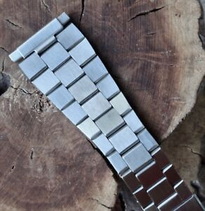 7 SOLD Flat-link vintage steel watch band 22mm compatible with Heuer Calculator