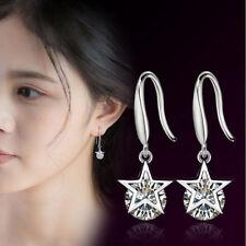 Fashion Lady Jewelry 925 Silver Crystal Christmas Stars Hook Drop Earrings Gift
