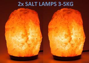 2x 3-5kg HIMALAYAN PINK SALT ROCK CRYSTAL LAMP NATURAL HEALING IONIZING LAMPS