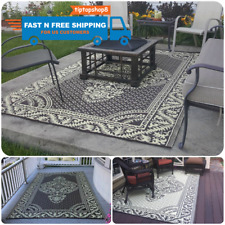 Reversible Camping Picnic Carpet Deck Rug Pad Indoor Outdoor Patio Mat RV Cover