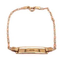 "14k Tri Color Gold Valentino Chain Baby ID Bracelet 6"""