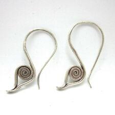 Fine Silver Earrings Hill tribe Thai karen Dangle Spiral Eyes By Leelaveera