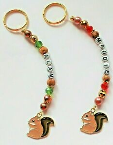 Cute Personalised Squirrel keyring / bag charm (you chose a name ), 2 designs