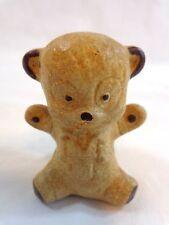 """Teddy Bear Figurine 2"""" BROWN Vintage Ceramic Hand Painted"""