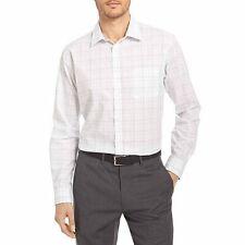 Van Heusen Men's Traveler Stretch Long Sleeve Button Down White Plaid Shirt, 3XL