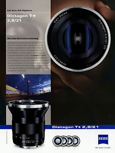 Zeiss Prospekt Datenblatt Kamera Objektiv Distagon T 2,8/21 2010 brochure lens