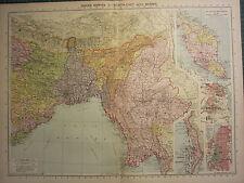 1939 Carte ~ Indien Empire Du Nord-Est avec Burma ~ Malay States Delhi Calcutta