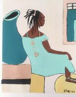 African American Art Woman And  Colorful 11x14 Poster Oil -Acrylic Blue Yellow
