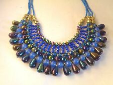 """Chunky Blue Glass Seed Bead and Large Bead Necklace 18"""" to 21"""" NWT"""