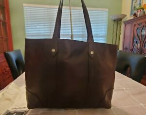 Frye Large Leather Tote Bag Brown With Dust Cover 18 X 12