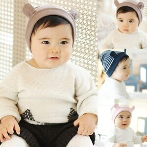 Baby Stripe Stripy Hat Cap Infant Boy Girl Soft Warm Cotton with Ears