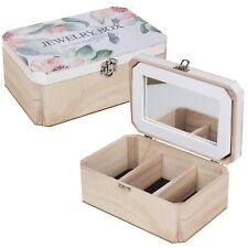 Wooden Jewellery Box Case With Floral Design 3 Compartments Mirror Lock Make-Up