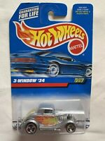 1990 HOT WHEELS 3-WINDOW '34  #257 SILVER WITH FLAMES