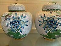 """Pair Large (10""""h,8""""dia) Cloisonne Jars.  Vintage. Floral. 4.5lb each"""