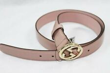 AUTH $320 Gucci Women Pink Patent Leather GG Logo Belt 90/36
