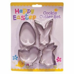 4 Pack Easter Cookie Cutters Set Bunny Chicken Egg Chick Rabbit Fondant Biscuit