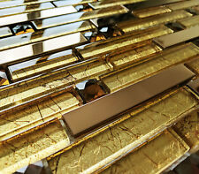NEW LUXURY COPPER GOLD FOIL GLASS & METAL LONG RECTANGLE BRICK MOSAIC WALL TILES