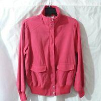 Susan Graver Style Peachskin Bomber Jacket Women Size M Strawberry Red