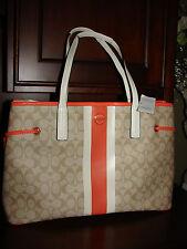 Coach Khaki White Orange Signature Stripe PVC Large Carryall Tote Bag NEW NWT