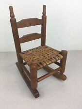 Vintage Miniature Wood Rocking Chair For Dolls/Stuffed Animals, Wicker Seat