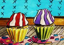 ORIGINAL ACEO Cupcakes painting JMW art John Williams ATC Ink Watercolor