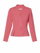 Gina Bacconi Moss Crepe Zip Up Jacket, Coral Red