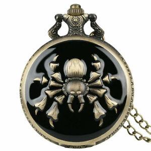 Vintage Steampunk Spider/Scorpion Quartz Analog Pocket Watch Necklace Chain