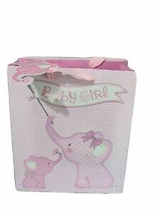 Gift Bags Medium Baby Girl Glitter Elephant 22.5 x 25cm