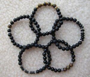 Men's Unisex - Black Onyx & Tiger's Eye Beaded Bracelet + Spacers