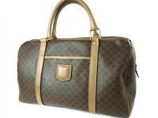 Authentic CELINE MACADAM Browns PVC Canvas, Leather Boston bag CB0663L