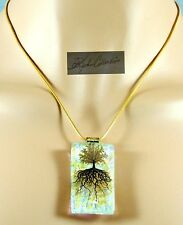 NEW! Pretty Golden Dichroic Style Tree of Life Pendant AB Sparkle on Rope Chain