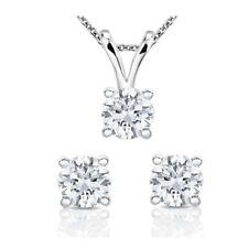CERTIFIED .75ct G/VS2 ROUND DIAMONDS IN 14K GOLD SOLITAIRE NECKLACE & STUDS SET