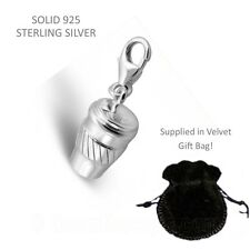 Silver Coffee Cup Charm - Solid 925 Sterling Silver Charm Gift Bag Lobster Clasp
