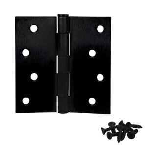 "Cosmas Matte Black Door Hinges 4"" Inch with Square Corners 23841"