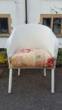 A Lovely Vintage Mid Century CC41 Wicker/Loom Style Tub Armchair Painted White